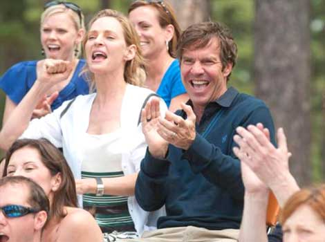 "Uma Thurman y Dennis Quaid en ""playing for keeps"""