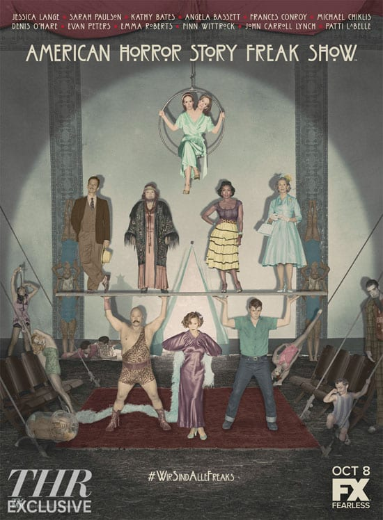 Parte del elenco de American Horror Story: Freakshow de FX. Poster promocional de American Horror Story: Freakshow que llegará a FX en Octubre. La nueva temporada de American Horror Story: Freakshow es estelarizada por Jessica Lange, Emma Roberts, Sarah Paulson, Kathy Bates, Michael Chiklis, Angela Bassett, Evan Peters, Frances Conroy y Gabourey Sidibe, Wes Bentley, John Carroll Lynch, Finn Wittrock Jyoti Amge.