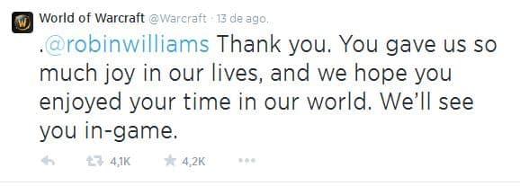 World of Warcraft le dedicó un mensaje a Robin Williams