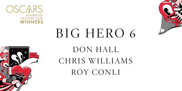 Imagen Promocional de los Premios Oscar a Mejor Cinta Animada para Big Hero 6.