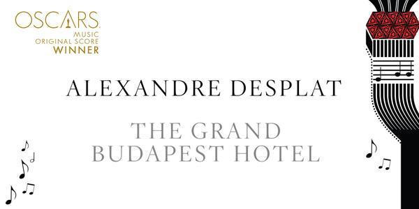 Imagen Promocional de los Premios Oscar a Mejor OST para The Grand Budapest Hotel.
