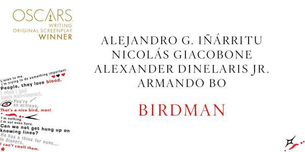 Imagen Promocional de los Premios Oscar por Mejor Guión Original para Birdman