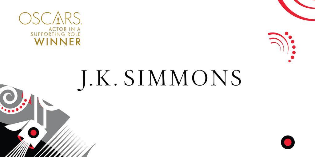 Imagen Promocional de los Premios Oscar a Mejor Actor Secundario para J.K. Simmons por Whiplash.