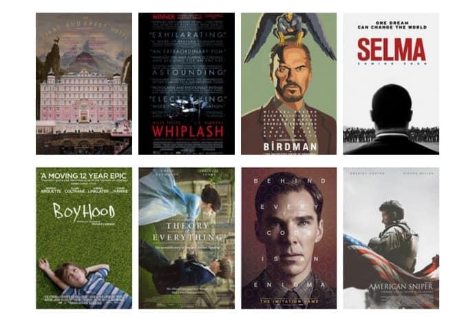 Imagen promocional de los Premios Oscar con posters de cintas nominadas al Mayor Premio de Hollywood. Entre los principales nominados están The Grand Hotel Budapest, Birdman, The Imitation Game y American Sniper.