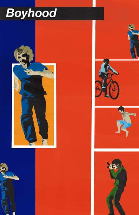 Poster de  recreado en Arte Pop para la entrega de Premios Oscar. Un grupo de artistas recreo postersde cintas nominadas al Premio Oscar en Arte Pop. Boyhood es dirigida por Richard Linklater y estelarizada por Ellar Coltrane, Patricia Arquette e Ethan Hawke.