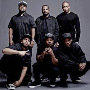 Ice Cube, el director F. Gary Gray, Dr. Dre y los protagonistas Corey Hawkins, Jason Mitchel y O'Shea Jackson Jr