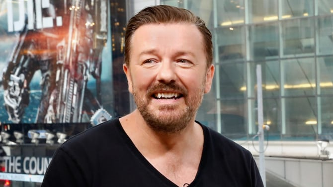 """Ricky Gervais Visits """"Extra"""""""