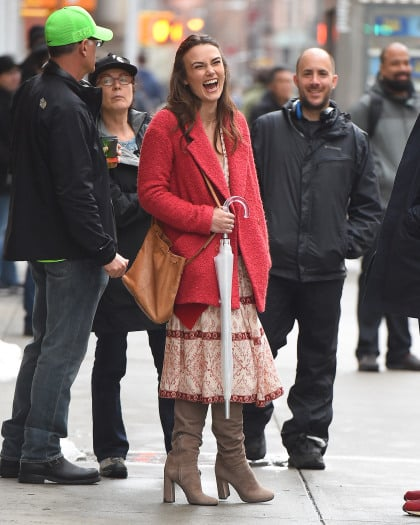 Keira Knightley spotted in a red coat and grey boots on the set of 'Collateral Beauty' in New York City