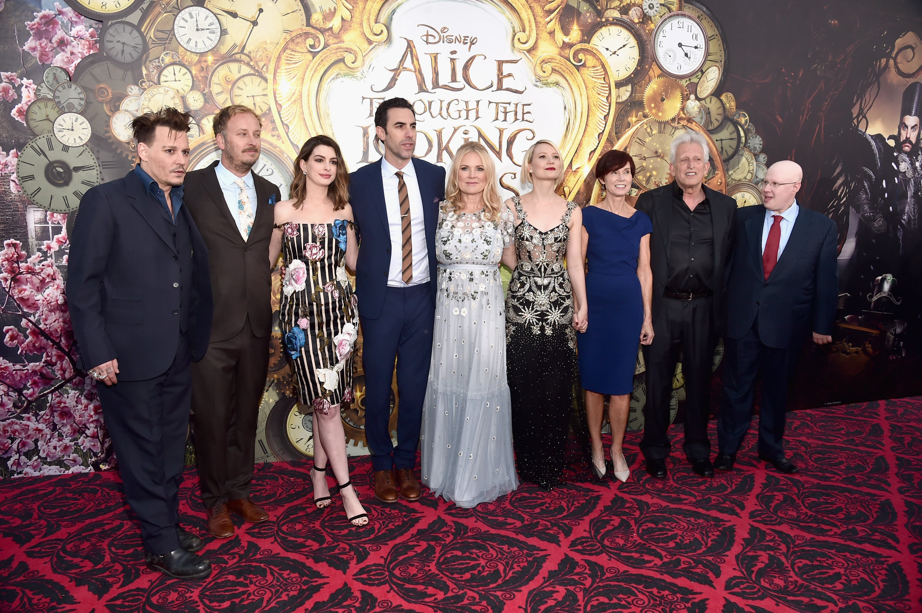 HOLLYWOOD, CA - MAY 23: (L-R) Actor Johnny Depp, director James Bobin, actors Anne Hathaway, Sacha Baron Cohen, producer Suzanne Todd, Mia Wasikowska, screenwriter Linda Wollverton, producer Joe Roth and actor Matt Lucas attend Disney's 'Alice Through the Looking Glass' premiere with the cast of the film, which included Johnny Depp, Anne Hathaway, Mia Wasikowska and Sacha Baron Cohen at the El Capitan Theatre on May 23, 2016 in Hollywood, California. (Photo by Alberto E. Rodriguez/Getty Images for Disney) *** Local Caption *** Johnny Depp; James Bobin; Anne Hathaway; Sacha Baron Cohen; Suzanne Todd; Mia Wasikowska; Linda Wolverton; Joe Roth; Matt Lucas