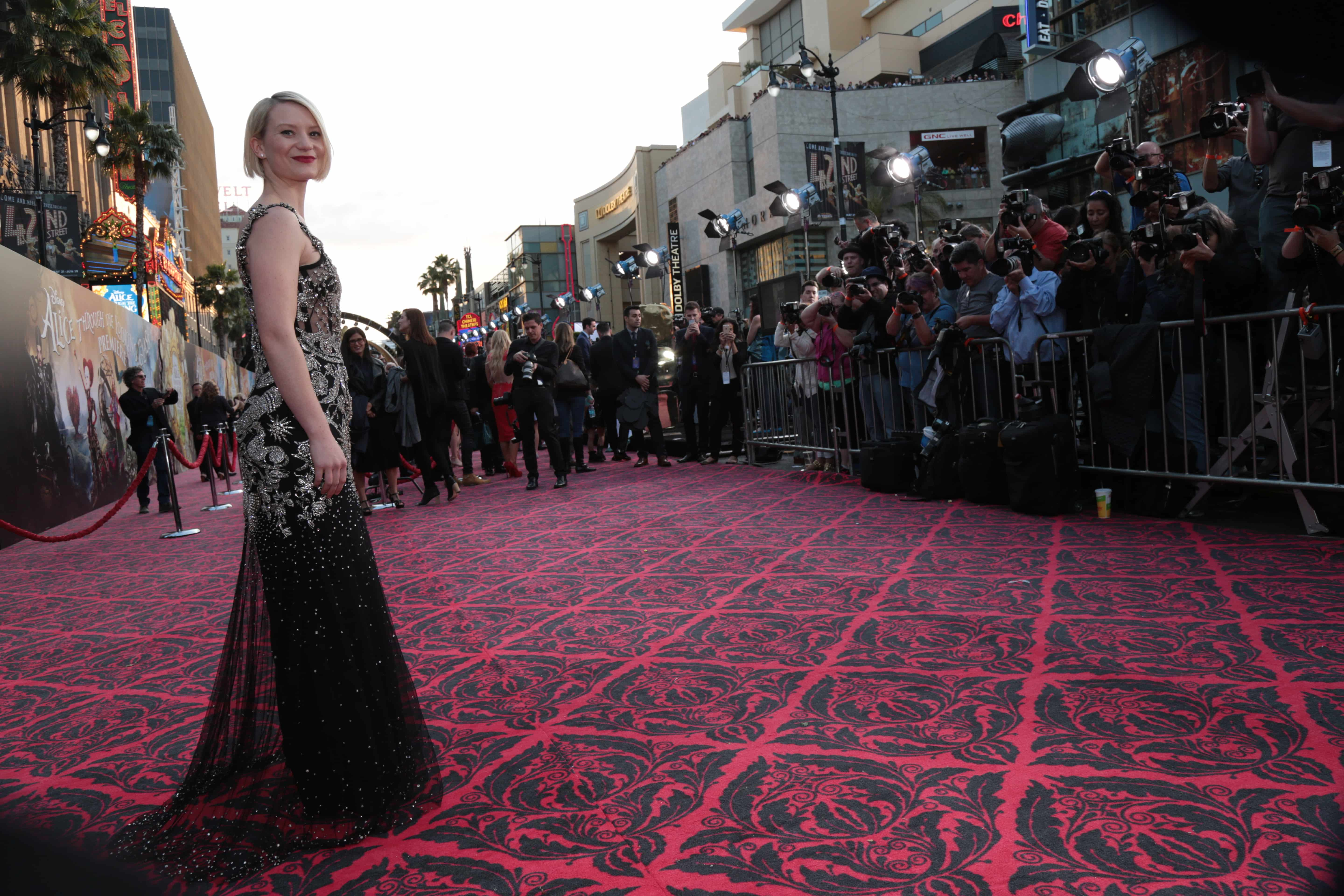 "Mia Wasikowska arrives at The US Premiere of Disney's ""Alice Through the Looking Glass"" at the El Capitan Theater in Los Angeles, CA on Monday, May 23, 2016. (Photo: Alex J. Berliner/ABImages)"