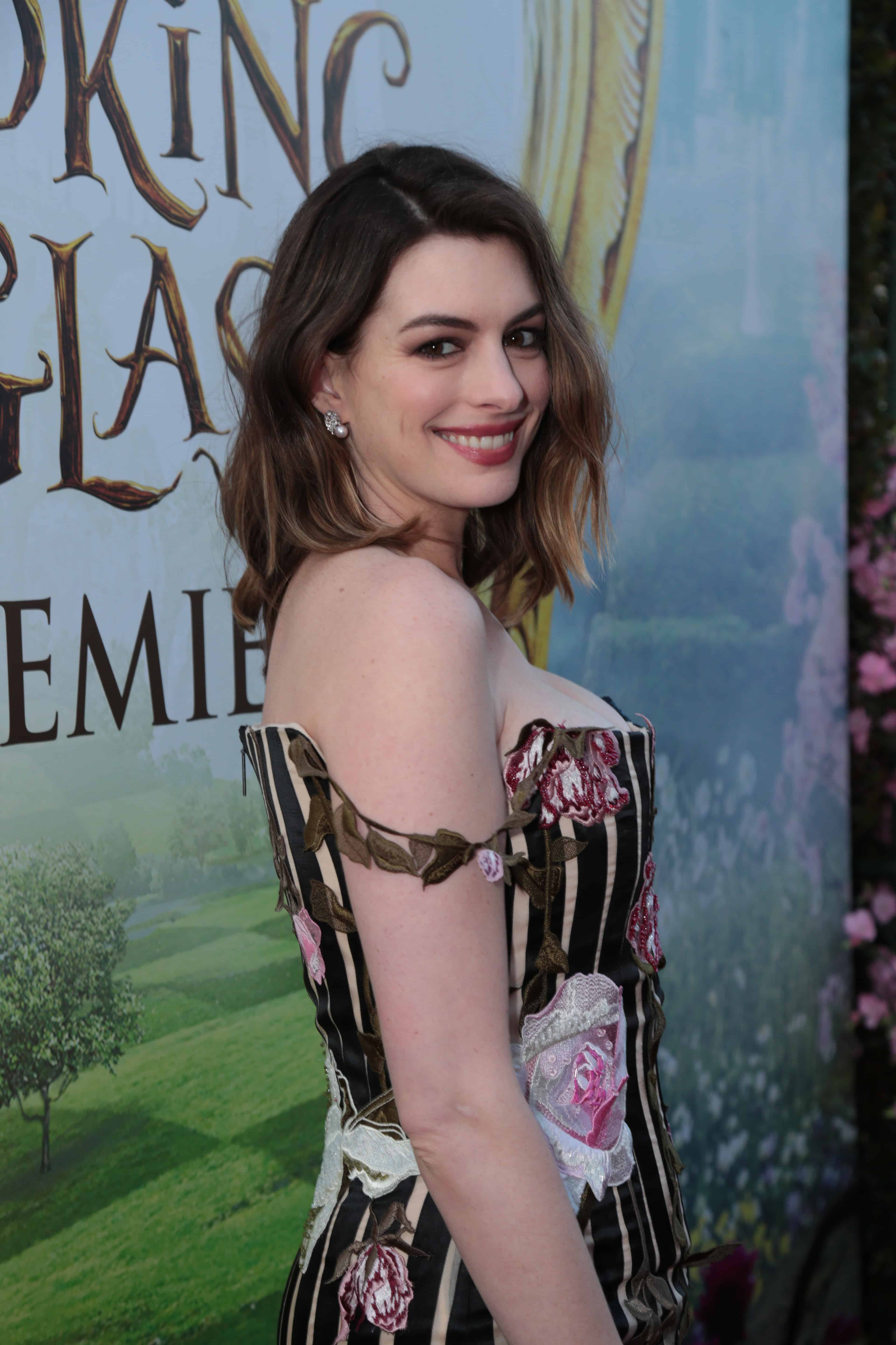 "Anne Hathaway arrives at The US Premiere of Disney's ""Alice Through the Looking Glass"" at the El Capitan Theater in Los Angeles, CA on Monday, May 23, 2016. (Photo: Alex J. Berliner/ABImages)"