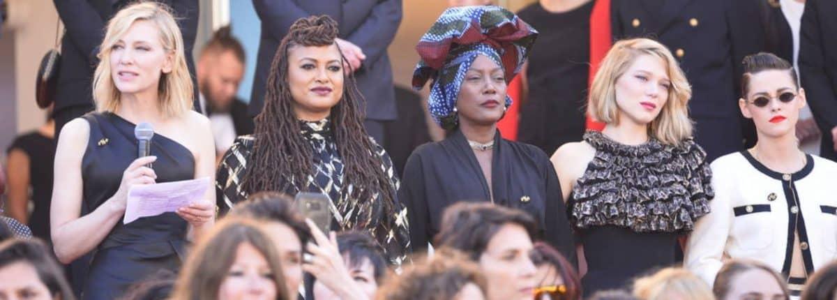 82 mujeres lideran protesta histórica en alfombra roja de Cannes 2018