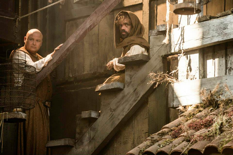 Conleth Hill as Varys and Peter Dinklage as Tyrion Lannister – photo Helen Sloan/HBO