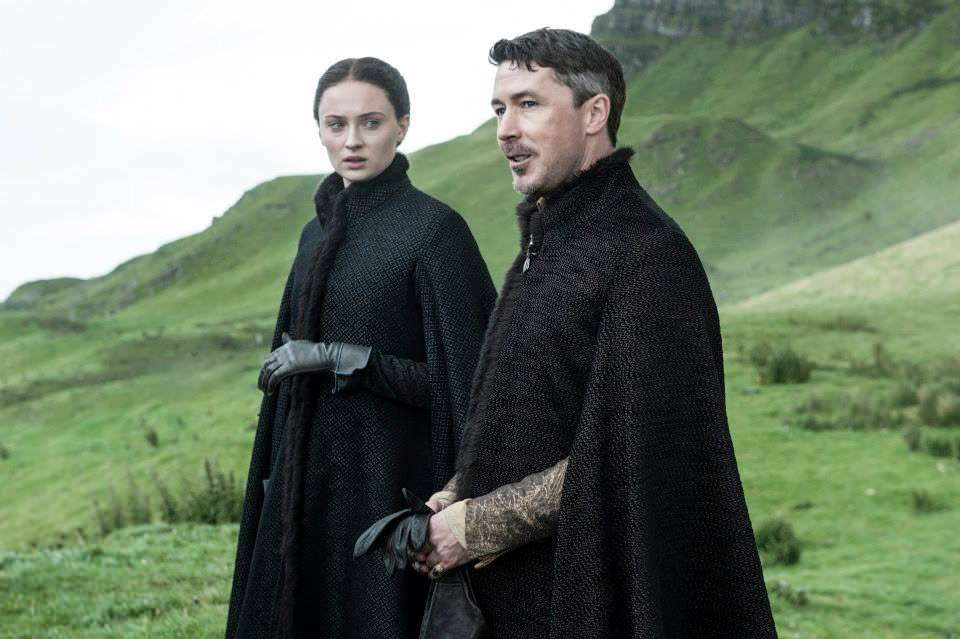 Sophie Turner as Sansa Stark and Aidan Gillen as Littlefinger – photo Helen Sloan/HBO
