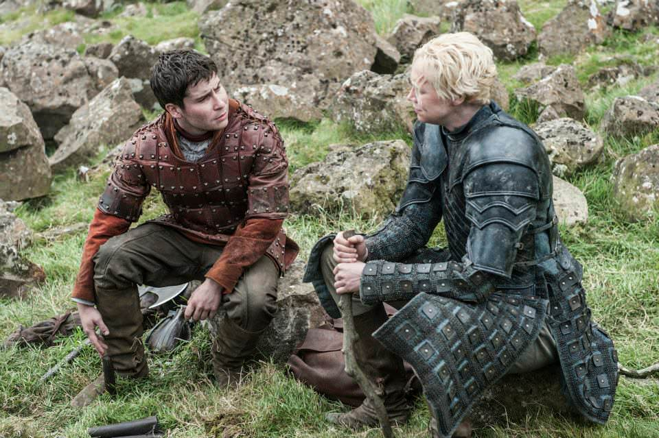 Daniel Portman as Podrick Payne and Gwendoline Christie as Brienne of Tarth – photo Helen Sloan /HBO