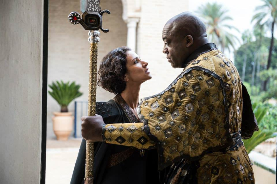 Indira Varma as Ellaria Sand and Deobia Opaeri as Areo Hotah– photo Macall B. Polay/HBO