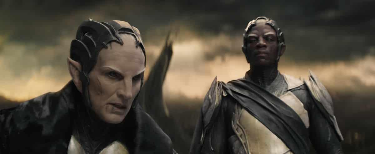 """Marvel's Thor: The Dark World""..L to R: Malekith (Christopher Eccleston) and Algrim (Adewale Akinnuoye-Agbaje) ..Ph: Film Frame..© 2013 MVLFFLLC. TM & © 2013 Marvel. All Rights Reserved."