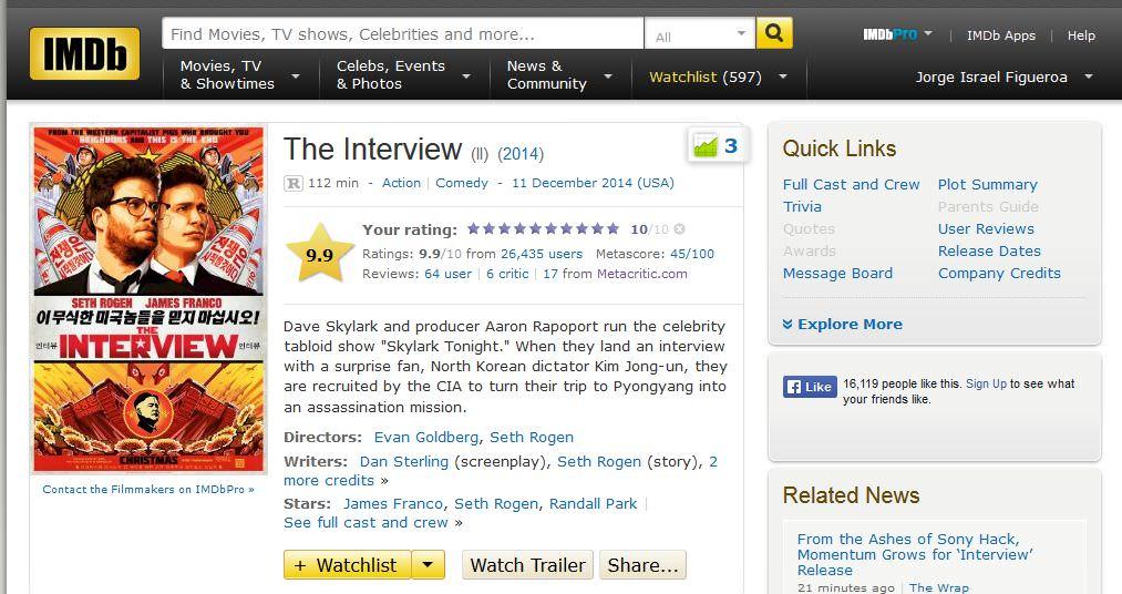 The Interview tuvo 10/10 en IMDB por unos minutos