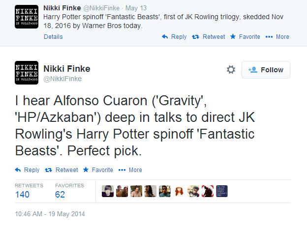 Tweet por parte de Deadline relacionado a Fantastic Beasts and Where to Find them de J.K. Rowling.