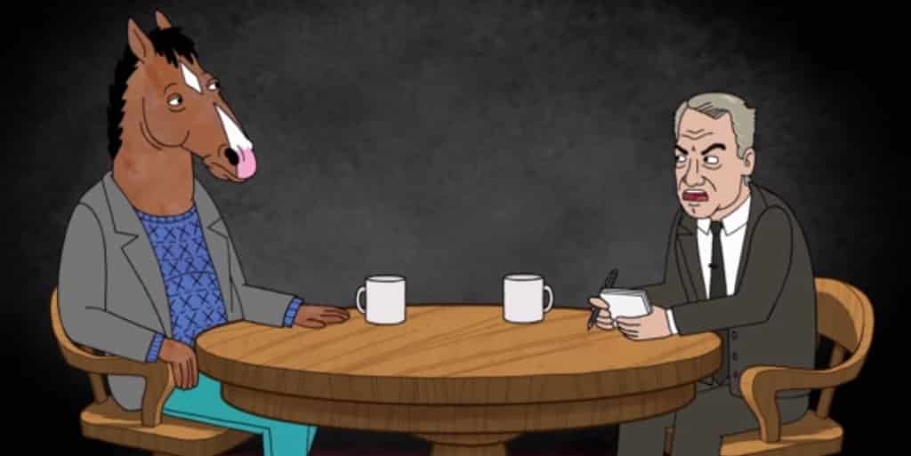 Imagen promocional de BoJack Horseman de Netflix, parte de los 6 nuevos shows del sistema de Video en Demanda. BoJack Horseman es una cruda comedia de humor negro para adultos, sobre un caballo, retirado, famoso y estrella de sitcom's años atrás, ahora viviendo en Hollywood quejándose de todo.
