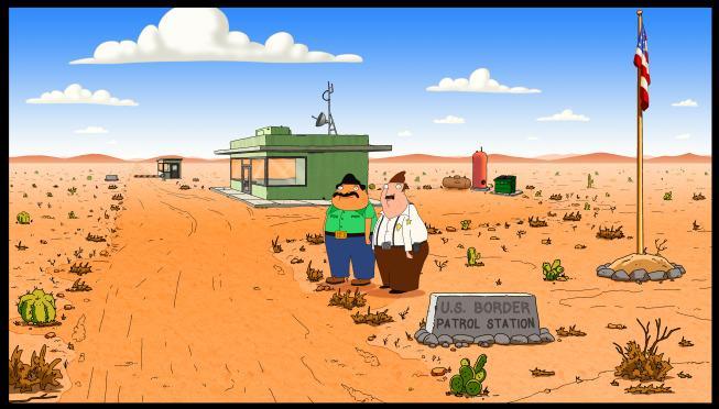 Imagen promocional de Bordertown, nuevo show animado de Seth MacFarlane para FOX. Bordertown cuenta la historia de 1 inmigrante y un policía fronterizo y sus vidas como vecinos. Entre el reparto están Seth MacFarlane, Alex Bornstein, Missi Pyle, Judah Friedlander y Nicholas Gonzalez.