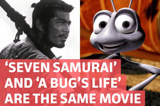 Imagen promocional de Seven Samurai y Bug's Life/Bichos. Según teorías, Bichos y Seven Samurai son las mismas películas. Según una teoría, Seven Samurai de Akira Kurosawa y A Bug's Life / Bichos de Pixar son la misma película.