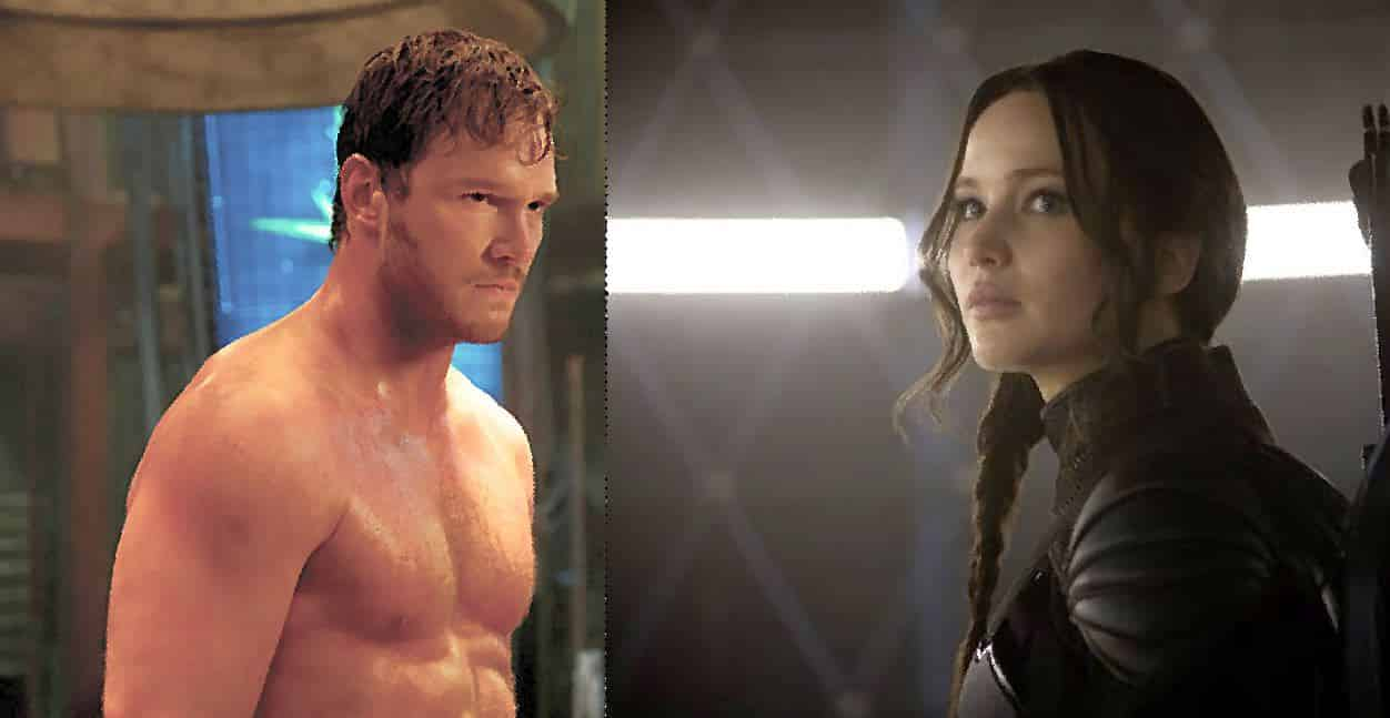 Chris Pratt y Jennifer Lawrence en Passengers