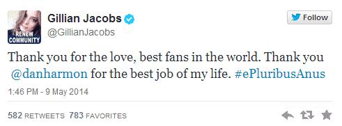 Tweet de Gillian Jacobs, de Community de NBC