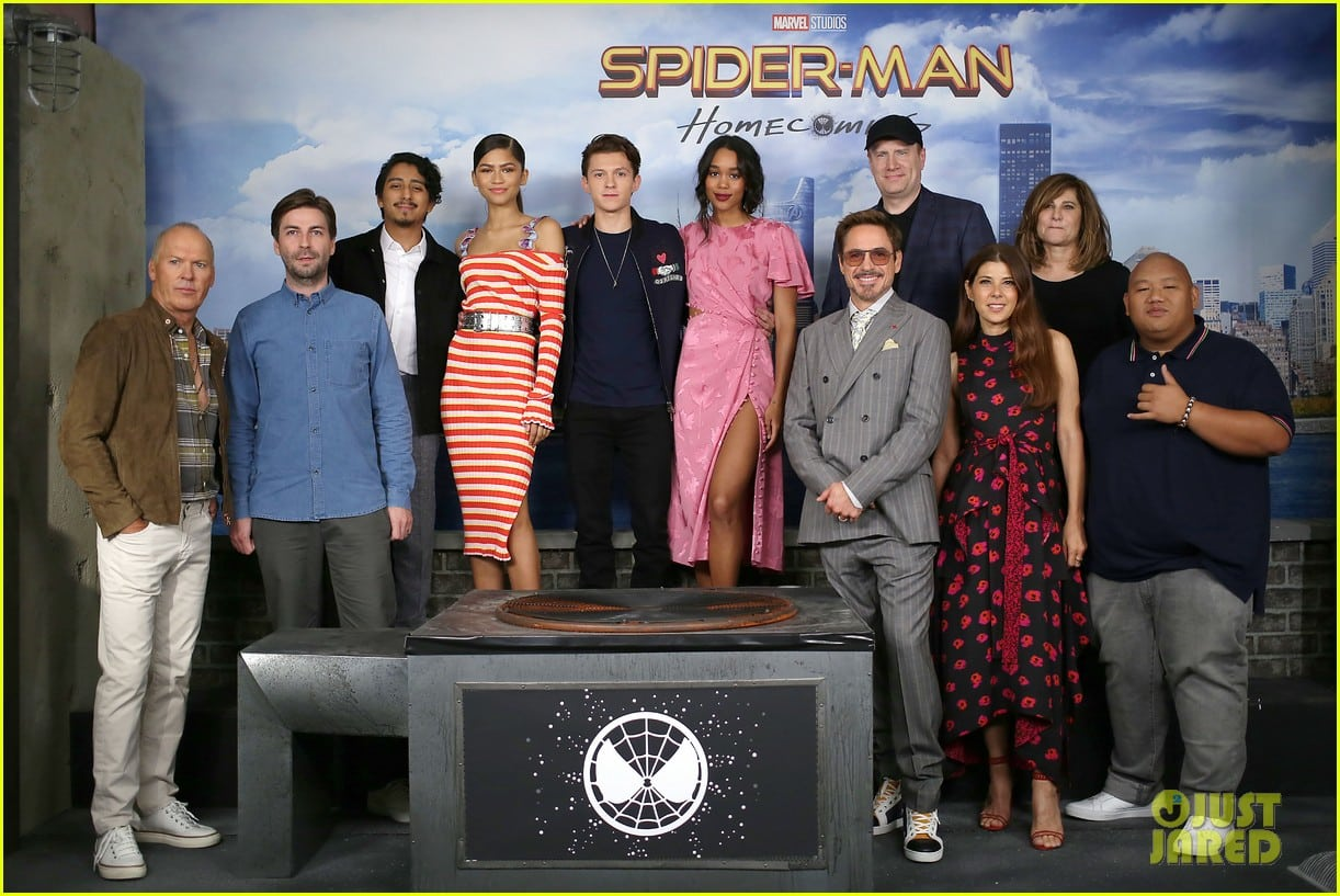"- New York, NY - 6/25/17 - Michael Keaton, Jon Watts, Tony Revolori, Zendaya, Tom Holland, Laura Harrier, Robert Downey Jr., Kevin Feige, Marisa Tomei, Amy Pascal and Jacob Batalon attend a Photocall for Marvel Studios' ""SPIDER-MAN - HOMECOMING"". The film stars Tom Holland, Michael Keaton, Robert Downey Jr, Zendaya and Marisa Tomei. It releases in theaters nationwide on June 28, 2017. -Pictured: Michael Keaton, Jon Watts, Tony Revolori, Zendaya, Tom Holland, Laura Harrier, Robert Downey Jr., Kevin Feige, Marisa Tomei, Amy Pascal and Jacob Batalon -Photo by: Kristina Bumphrey/StarPix -Location: The Whitby Hotel"
