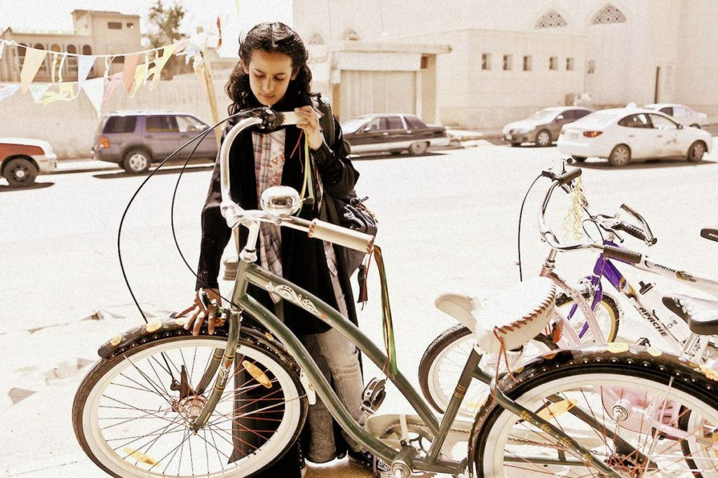 Escena de la bicicleta verde