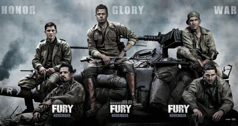 Logan Lerman, Michael Peña, Brad Pitt, Jon Bernthal y Shia LaBeouf en póster promocional de Fury.
