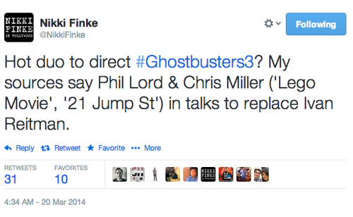 "El tweet sobre Ghostbusters 3: ""¿Duo ardiente para dirigir Ghostbusters 3? Mis fuentes dicen Phil Lord y Chris Miller (""Lego Movie"", ""21st Jump Street"") en plática para remplazar a Ivan Reitman"