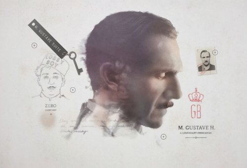 Ralph Fiennes como M. Gustave en The Grand Budapest Hotel de Wes Anderson