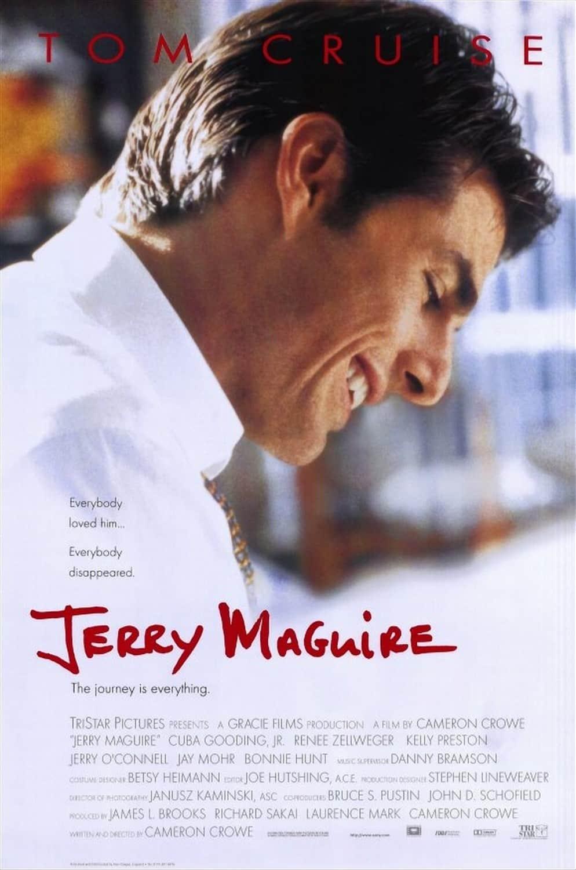 Poster promocional de Jerry Maguire, película que dejará Netflix este mes de Diciembre. Como cada mes, Netflix ha presentado lo que dejará la plataforma este mes de Diciembre, con shows originales, shows y películas exclusivas en su plataforma. Además de entre lo que dejará la plataforma, hay películas como: La Naranja Mecánica, Almost Famous, American Psycho, The Bourne Supremacy, Gladiator y mucho, mucho, mucho más.