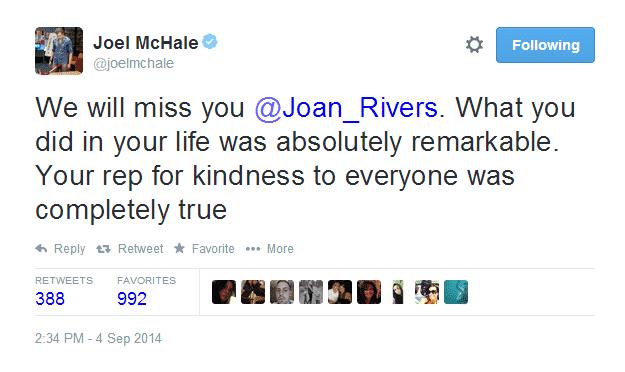"""""""Te extrañaremos @Joan Rivers. Lo que hiciste en tu vida es completamente remarcable. Tu reputación por tu bondad para los demás es real."""" Palabras de: Joel McHale. Por medio de Twitter QEPD Joan Rivers 1933-2014"""