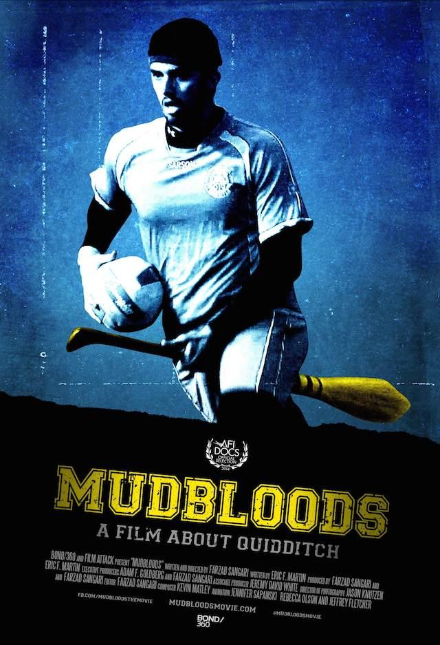 Poster oficial de Mudbloods, documental relacionado al Muggle Quidditch, deporte basado en la saga de libros de JK Rowling. Cinta dirigida por Farzad Sangari.