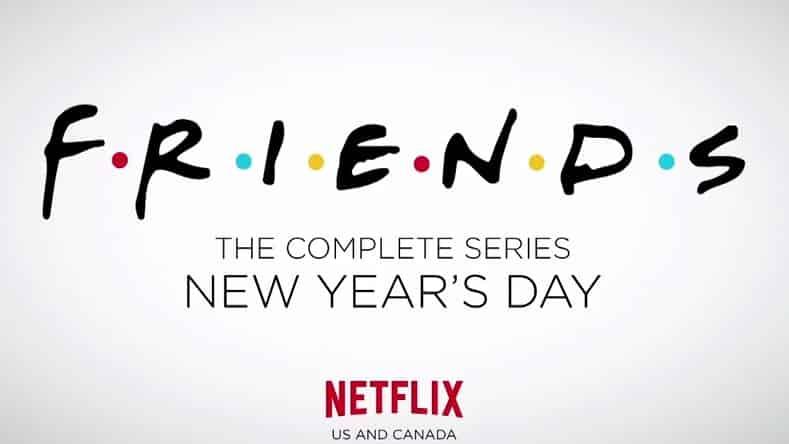 Imagen promocional de FRIENDS, parte de los shows que llegarán a Netflix en 2015 para Estados Unidos. Imagen promocional de Netflix, sistema de VOD. Netflix ha anunciado todos los shows que dejarán el sistema de video en demanda este 31 de Diciembre de 2014 y los que llegarán a partir del 1ro de Enero de 2015.