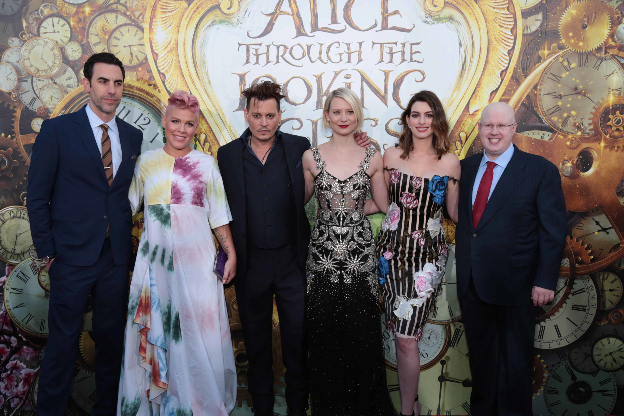 """Sacha Baron Cohen, Pink, Johnny Depp, Mia Wasikowska, Anne Hathaway and Matt Lucas pose together at The US Premiere of Disney's """"Alice Through the Looking Glass"""" at the El Capitan Theater in Los Angeles, CA on Monday, May 23, 2016. (Photo: Alex J. Berliner/ABImages)"""
