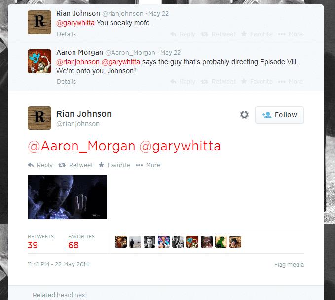 Conversación en Twitter entre Rian Johnson (director de Looper), y Aaron Morgan y Gary Whitta (escritores del nuevo Spin-off de Star Wars).