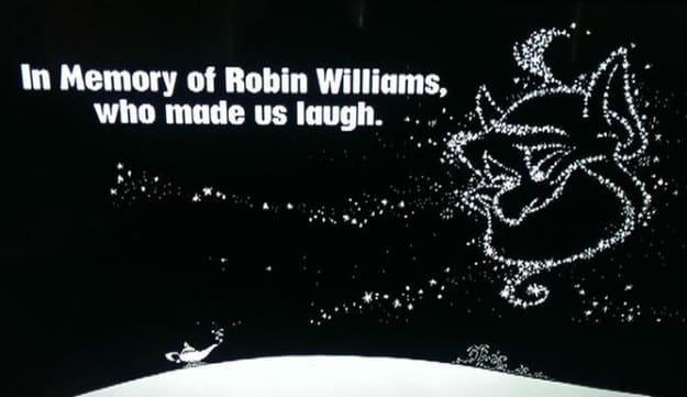 Robin Williams, famoso actor y comediante que pasó recientemente a mejor vida, recibió un tributo por parte de Disney por su papel del Genio en Aladdin. El famoso actor y comediante Robin Williams quién pasó hace un par de días a mejor vida será reconicdo por la entrega de premios mas grande de la TV, los Emmy Awards, en un reconomiento a su carrera y atribución para la TV y la Comedia.