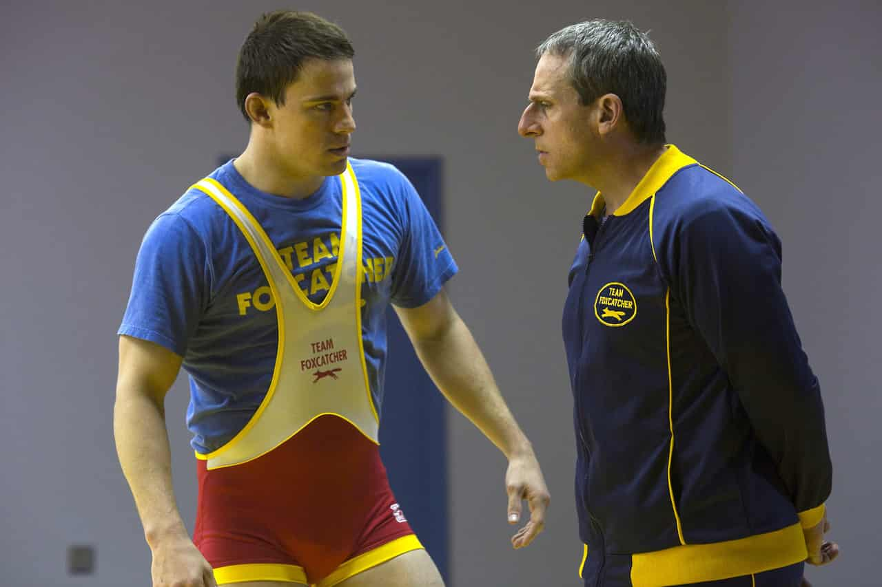 Channing Tatum como Mark Schultz y Steve Carell como John du Pont en 'Foxcatcher. Photo by Scott Garfield - © Fair Hill, LLC.