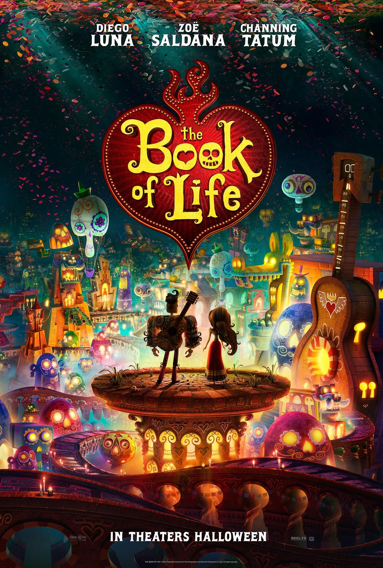Poster oficial de The Book of Life, dirigida por Jorge R. Gutierrez y producida por Guillermo del Toro, esto para 20th Century Fox y Fox Animation Studios.