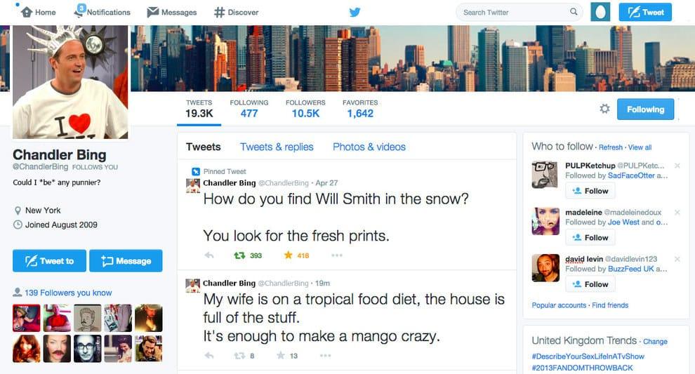 Los chistes de Chandler en menos de 140 caracteres hubiesen sido parte de Twitter