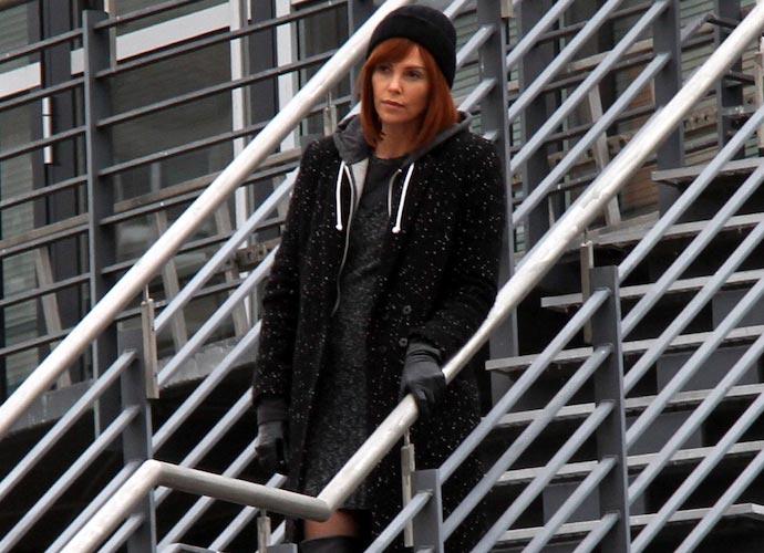 Charlize Theron en el set de filmación de 'The Coldest City'.
