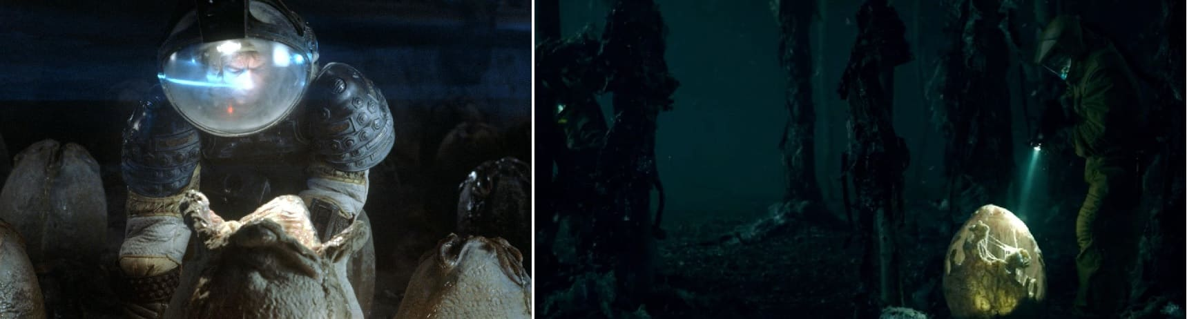 A la izquierda, Alien (1979), a la derecha, Stranger Things (2016).