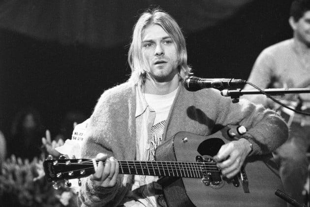 Kurt Cobain en la grabación del disco de Nirvana para MTV Unplugged en Nueva York.