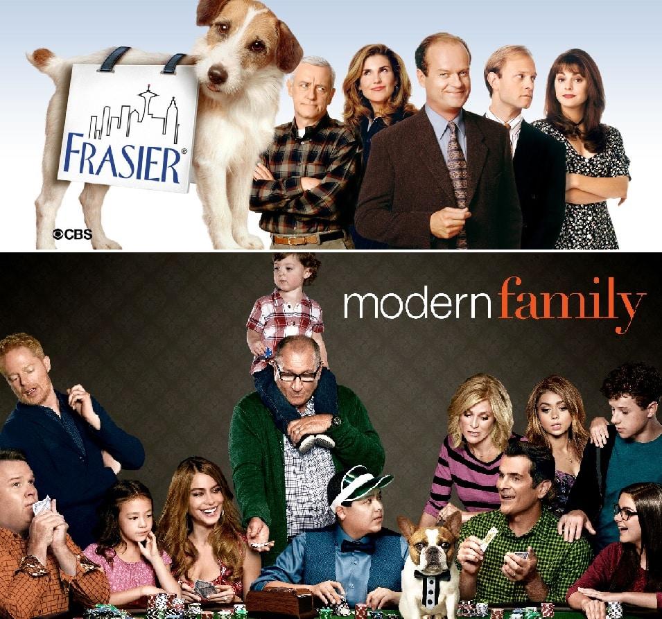 Frasier y Modern Family son las dos más ganadoras como Mejor Serie de Comedia.
