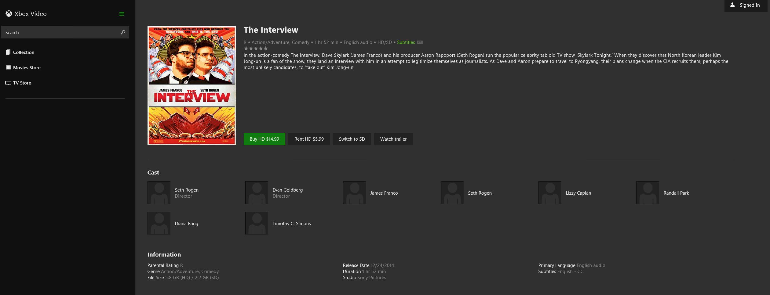 The Interview en Xbox video