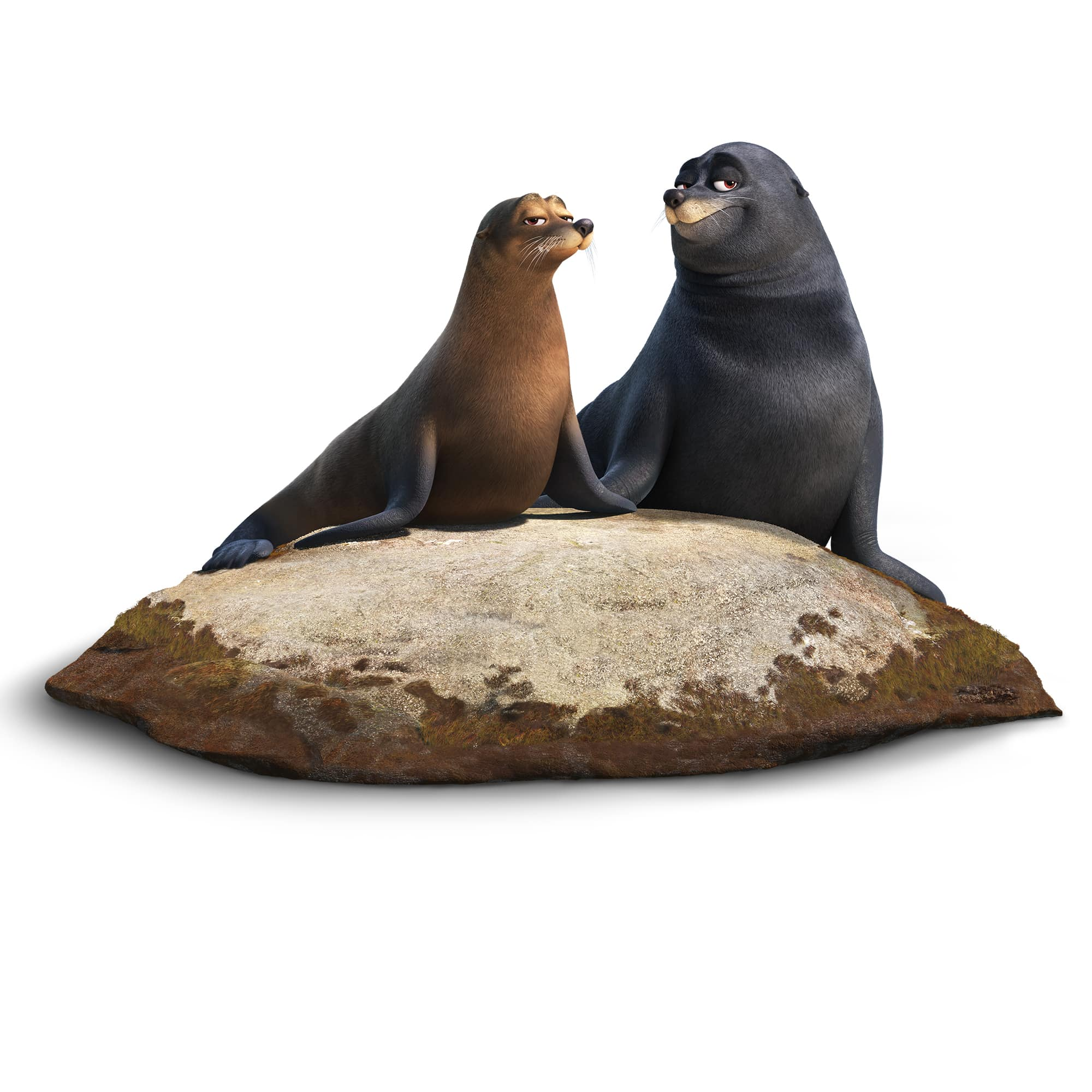 FINDING DORY - Pictured (L-R): RUDDER (voice of Dominic West) and FLUKE (voice of Idris Elba) are a pair of lazy sea lions who were rehabilitated at the Marine Life Institute. Marlin and Nemo find them snoozing on a warm—and highly coveted—rock just outside the center. These sea lions really enjoy their down time and would rather not be bothered mid nap—but their bark is far worse than their bite.. ©2016 Disney•Pixar. All Rights Reserved.