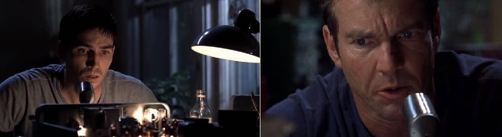 Jim Caviezel y Dennis Quaid en la película Frequency.